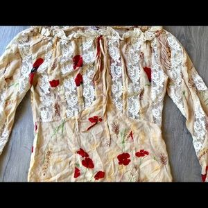 RED Valentino Tops - Red Valentino lace mix media blouse